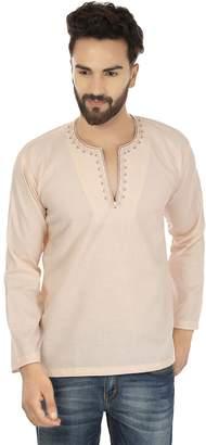 Off-White Maple Clothing Embroidered Cotton Mens Short Kurta Dress Shirt Indian Clothing (, L)