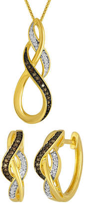 JCPenney FINE JEWELRY 1/10 CT. T.W. White and Champagne Diamond Infinity Earring and Pendant Necklace Set