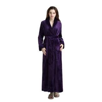 DoMii Womens Long Thick Fleece Robe Soft Spa Plush Full Length Velvet  Bathrobe M 6f21f3580