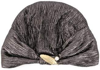 Ingie Paris brooch embellished metallic turban