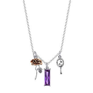 Disney Womens Purple Silver Over Brass Pendant Necklace