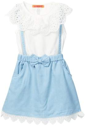 Funkyberry Eyelet Knit Denim Dress (Toddler Girls)