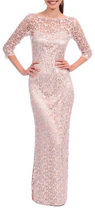 Kay Unger Beaded Lace Sheath Gown $640 thestylecure.com