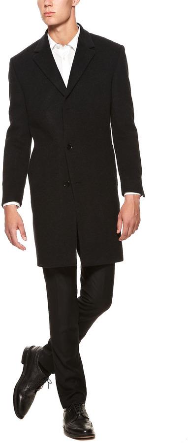 Calvin Klein Wool Cashmere Plaza Overcoat