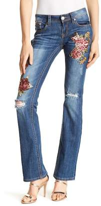 Grace In LA Denim Embroidered Floral Sequin Accent Boot Cut Jeans