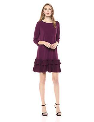 ECI New York Women's Long Sleeve Easy to wear Stretch Knit Ruffle Hem Dress