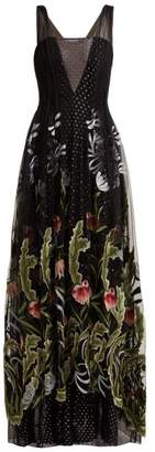 Rodarte Floral Embroidered Fil Coupe Tulle Gown - Womens - Black Multi