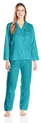 Miss Elaine Women's Brushed Back Satin Pajama Set