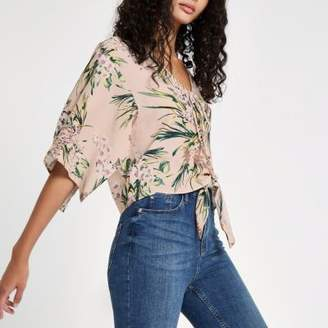 River Island Pink floral cape tie front crop top