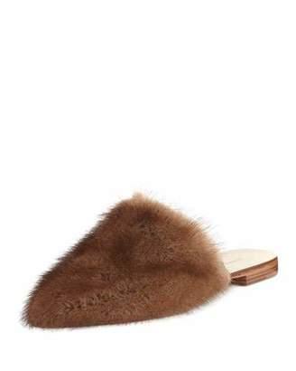 Jenni Kayne Flat Mink Fur Slide Mule, Dark Brown