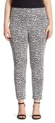 Joan Vass Animal-Print Jacquard Leggings