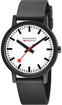 Mondaine Men's 'SBB' Swiss Quartz Stainless Steel and Leather Casual Watch, Color Black (Model: MS1.41110.RB)