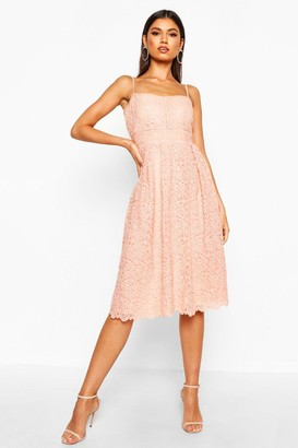 boohoo Boutique Embroidered Strappy Midi Skater Dress
