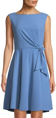 Tahari ASL Sleeveless Tie-Side Fit-&-Flare Crepe Dress