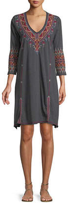 Johnny Was Marjan 3/4-Sleeve Embroidered Tunic Dress, Plus Size