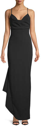 Badgley Mischka Cowl Neck Wrap Ruffle Gown