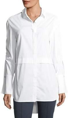 St. John Solid Long-Sleeve Shirting Tunic