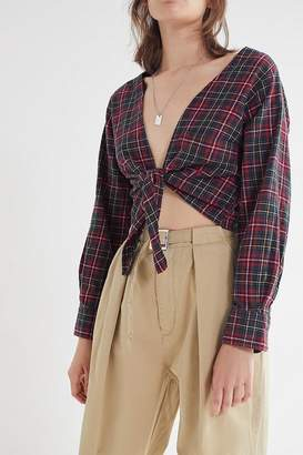 Urban Renewal Vintage Remade Plunging Flannel Cropped Top