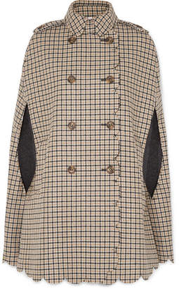RED Valentino Scalloped Checked Wool-blend Cape - Camel