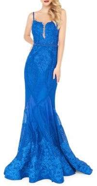 Mac Duggal Floral Lace Mermaid Gown