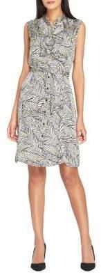 Tahari Arthur S. Levine Double Ruffle Stand Collar Belted Dress