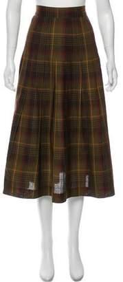 Christian Dior Wool Midi Plaid Skirt
