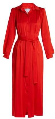 Dovima Paris - Mason Waist Tie Stretch Silk Satin Shirtdress - Womens - Red