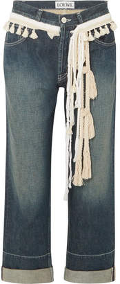 Loewe Rope-trimmed Cropped Boyfriend Jeans - Mid denim