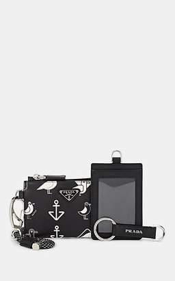 Prada Men's Leather ID Card Case, Pouch & Key Chain - Black