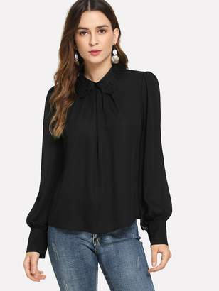 Shein Contrast Lace Collar Button Cuff Top