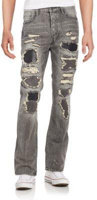 Roka Distressed & Studded Straight-Leg Jeans $425 thestylecure.com
