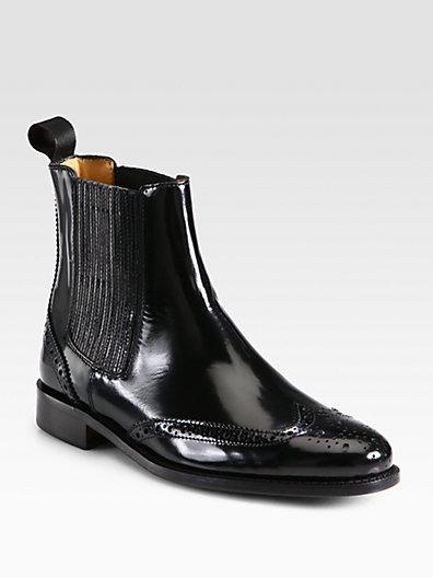 Burberry Gwendoline Patent Leather Ankle Boots