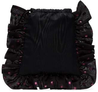 ATTICO black polka dot ruffle drawstring pouch