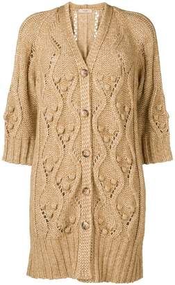Twin-Set cable knit midi cardigan