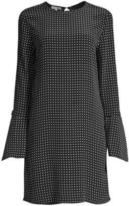 Equipment Mari Polka Dot Bell-Sleeve Shift Dress