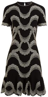 Alexander McQueen Wave Jacquard Scalloped Hem Dress - Womens - Black White