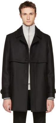 Saint Laurent Black Wool Gun Flap Coat