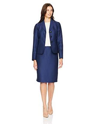 Le Suit Women's 3 Button Shawl Collar Novelty Skirt Suit