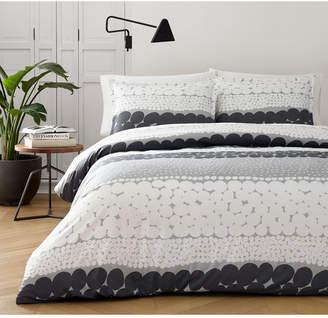 Marimekko Jurmo Dark Shadow Gray Cotton 3-Pc. Full/Queen Duvet Cover Set Bedding