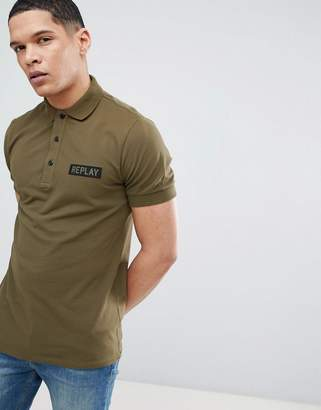 Replay military logo pique polo