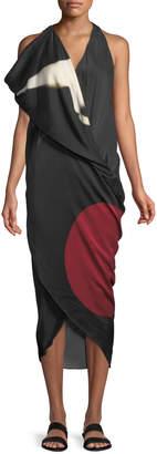 Urban Zen Abstract Brushstroke Print Silk Scarf Dress