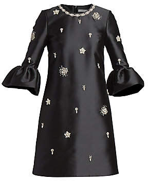 Erdem Women's Beaded Satin Bell-Sleeve Dress