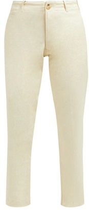 Holiday Boileau - Buckled Tab High Rise Cotton Chino Trousers - Womens - Cream