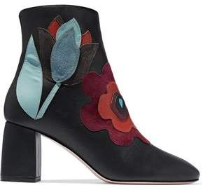 RED Valentino Floral-Appliquéd Leather Ankle Boots