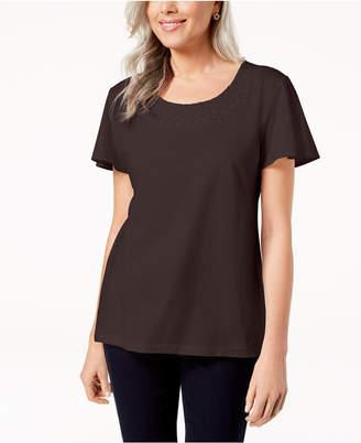 Karen Scott Woven Scoop-Neck Top, Created for Macy's