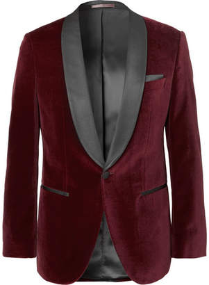 HUGO BOSS Burgundy Hockley Slim-Fit Satin-Trimmed Cotton-Velvet Tuxedo Jacket