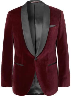 HUGO BOSS Burgundy Hockley Slim-Fit Satin-Trimmed Cotton-Velvet Tuxedo Jacket - Men - Burgundy
