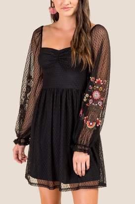 francesca's Maritza Embroidered A-Line Dress - Black