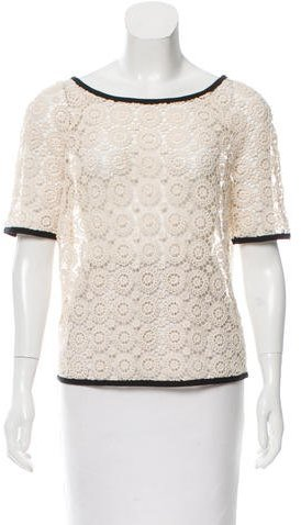 Tory Burch Tory Burch Short Sleeve Guipure Lace Top
