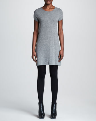 Paule Ka Short-Sleeve Cashmere Dress